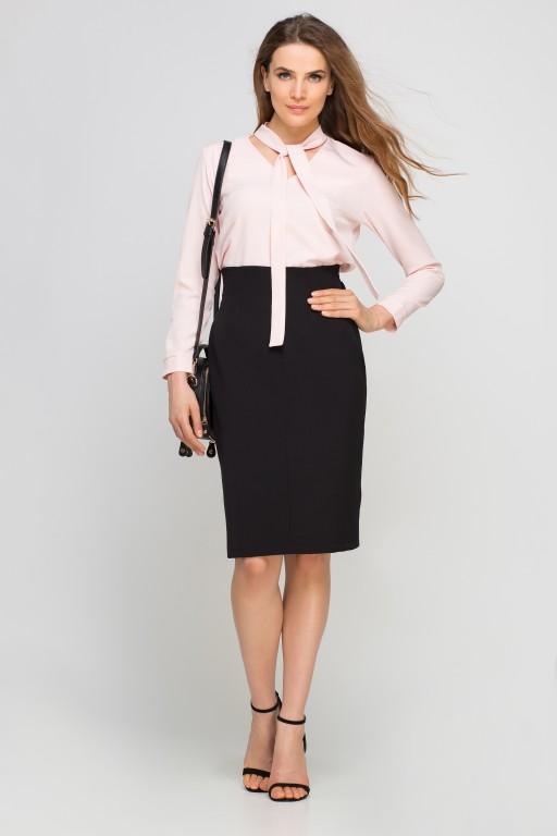 Blouse with ribbon, BLU131 pink