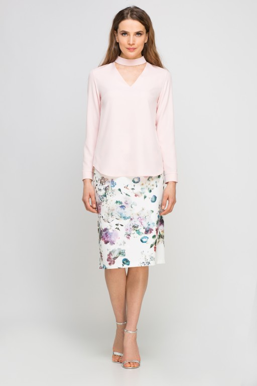 Blouse with choker, BLU132 pink