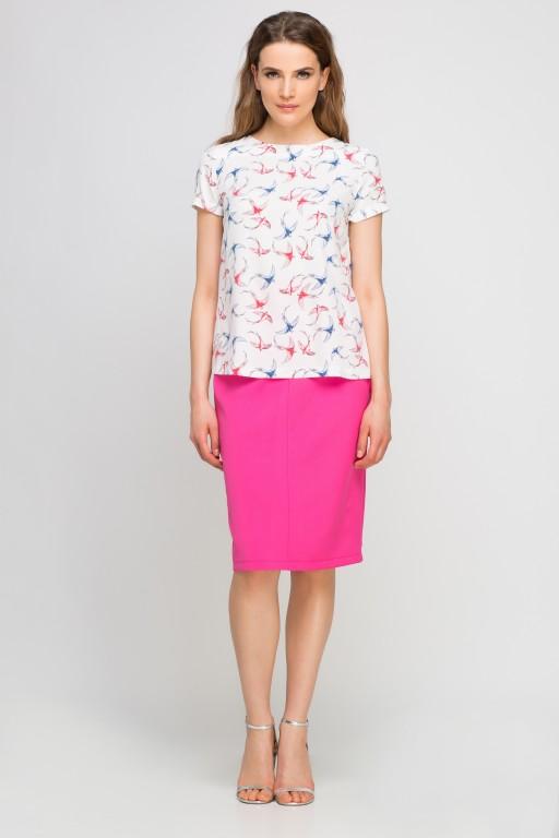 Elegancka bluzka z krótkim rękawem, BLU133 jaskółki ecru