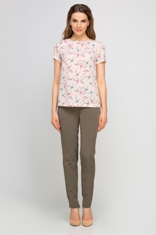 Elegant short sleeve blouse, BLU133 pattern pink