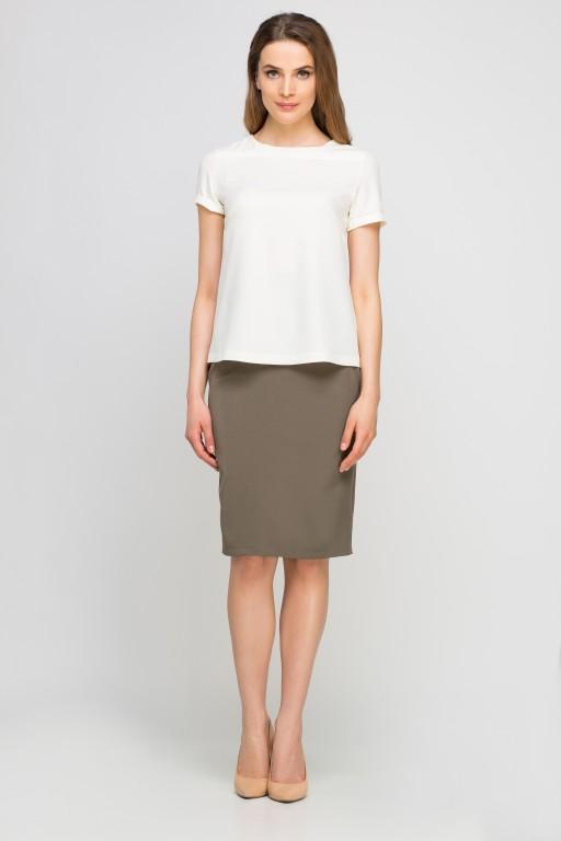 Elegancka bluzka z krótkim rękawem, BLU133 ecru