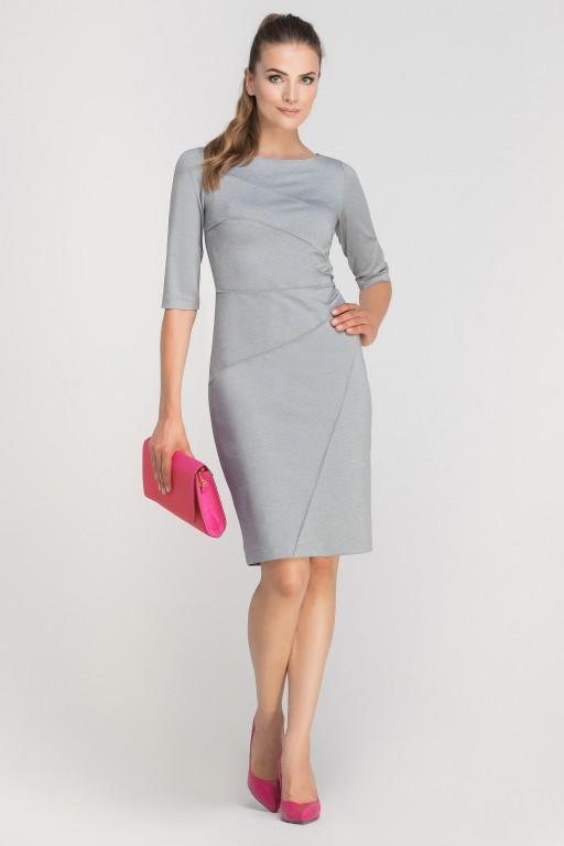 Sukienka dopasowana z przeszyciami, SUK146 szary