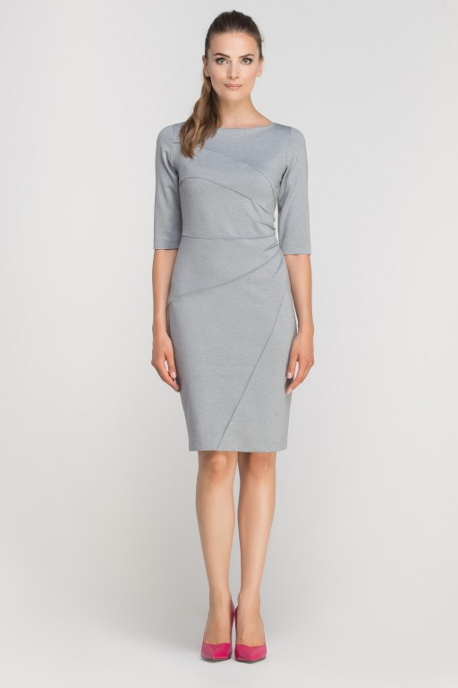 Dress matched with stitching, SUK146 grey