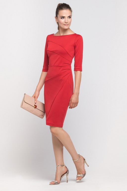 Dress matched with stitching, SUK146 red