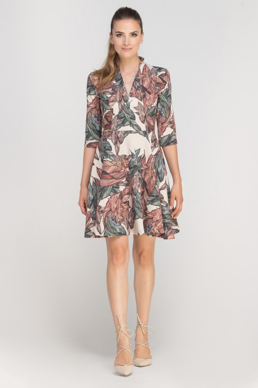 Sukienka rozkloszowana z dekoltem, SUK147 liście