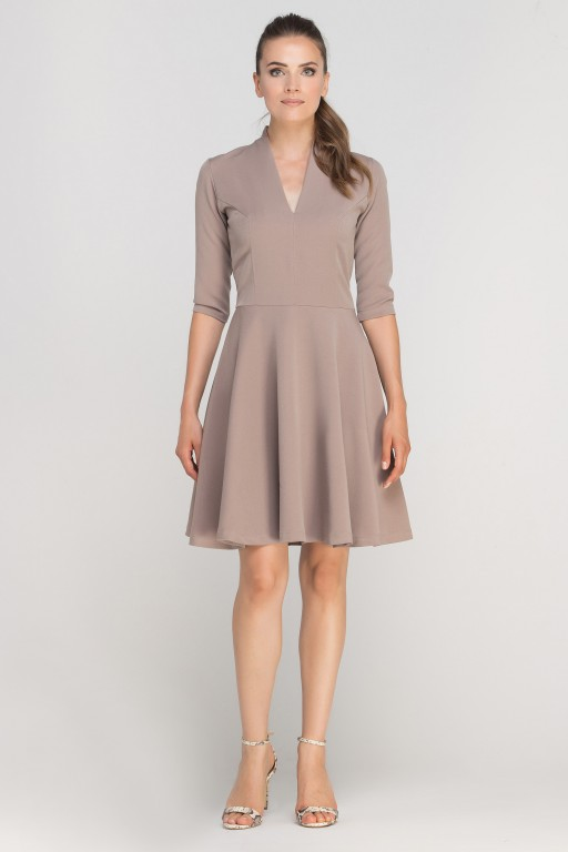 Dress matched with stitching, SUK147 beige