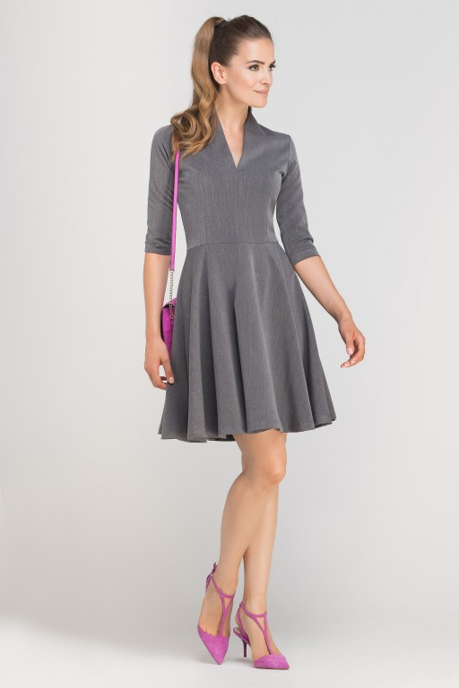 Dress matched with stitching, SUK147 graphite