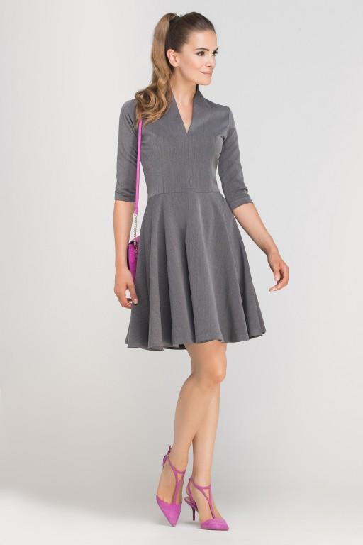Dress matched with stitching, SUK147 graphite