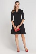 Sukienka rozkloszowana z dekoltem, SUK147 czarny