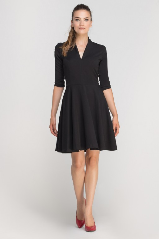 Dress matched with stitching, SUK147 black