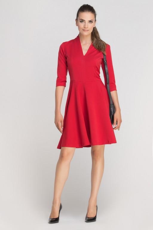 Sukienka rozkloszowana z dekoltem, SUK147 czerwony