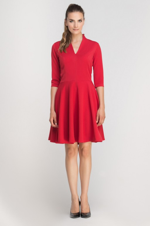 Dress matched with stitching, SUK147 red