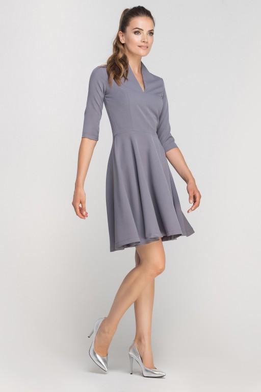 Sukienka rozkloszowana z dekoltem, SUK147 szary