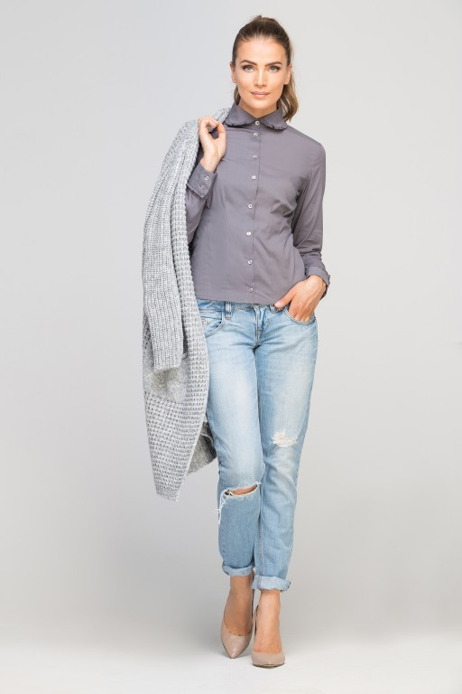 Classic shirt with round collar, K105 grey