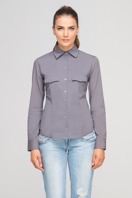 Shirt with flaps on chest, K106 grey