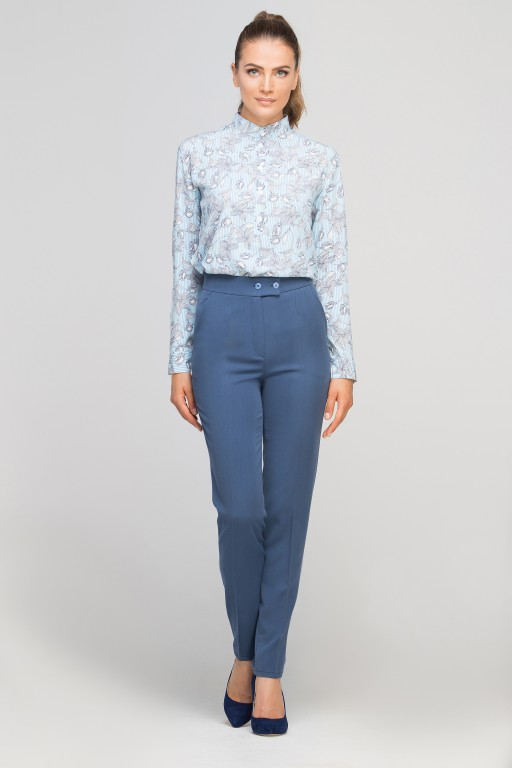 Shirt with stand up collar, K107 lightblue