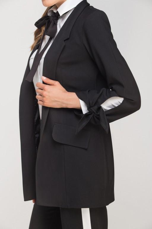 Żakiet z wiązanym rękawem, ZA116 czarny