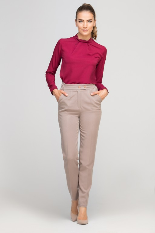 Blouse with a unique collar, BLU138 burgundy