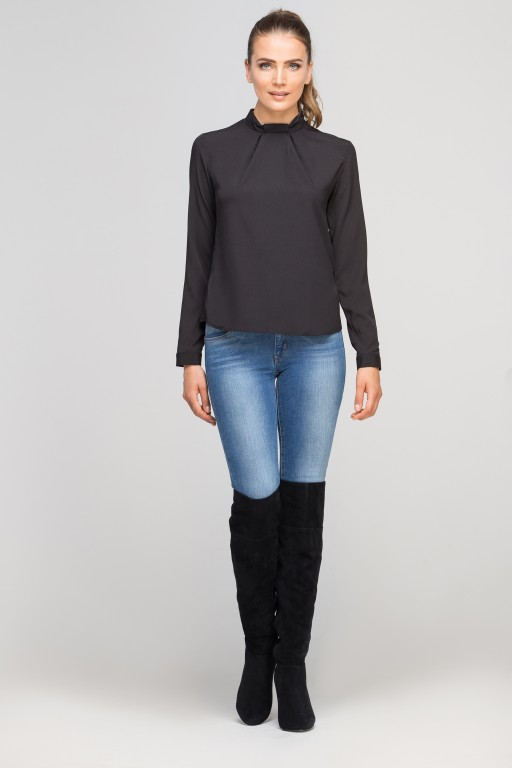 Blouse with a unique collar, BLU138 black
