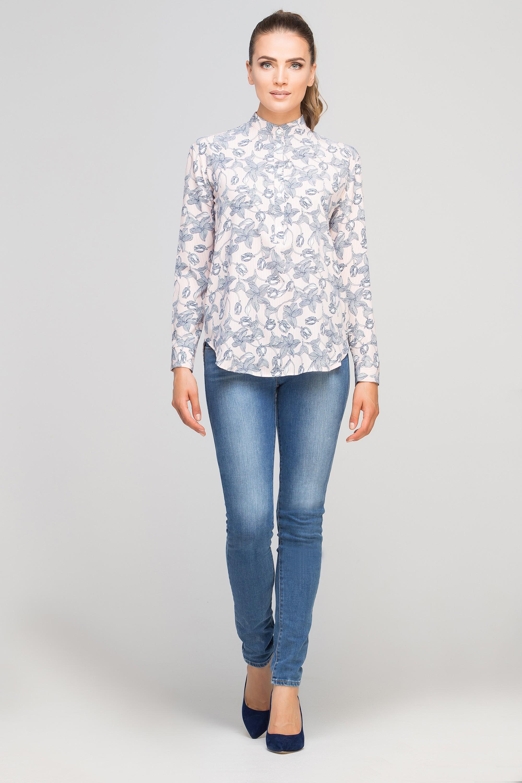32f0926820 Shirt with stand up collar, K107 pink - Lanti