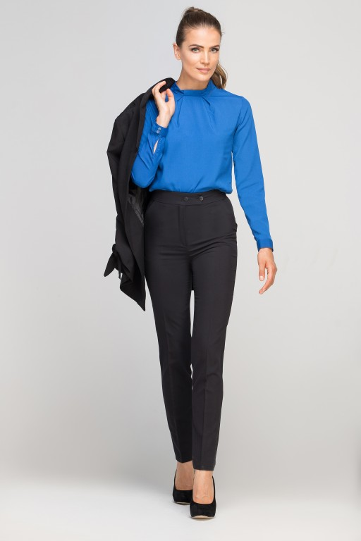 Blouse with a unique collar, BLU138 indigo