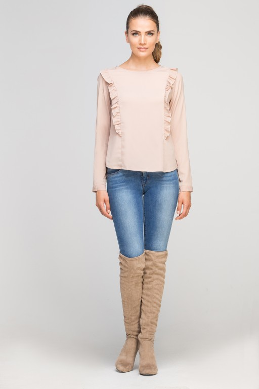 Blouse with vertical flounces, BLU136 beige