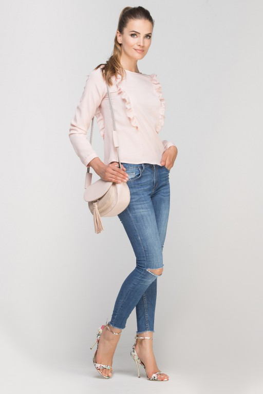 Blouse with vertical flounces, BLU136 pink