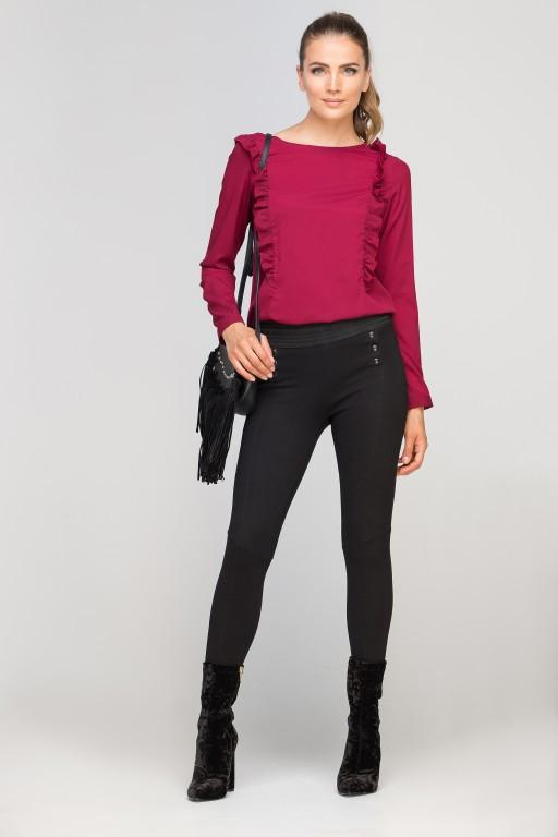 Blouse with vertical flounces, BLU136 burgundy