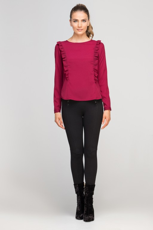 Blouse with vertical flounces, BLU136 burgundy