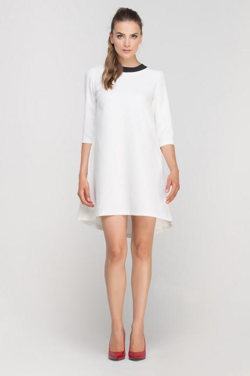 Sukienka z dłuższym tyłem, SUK148 ecru