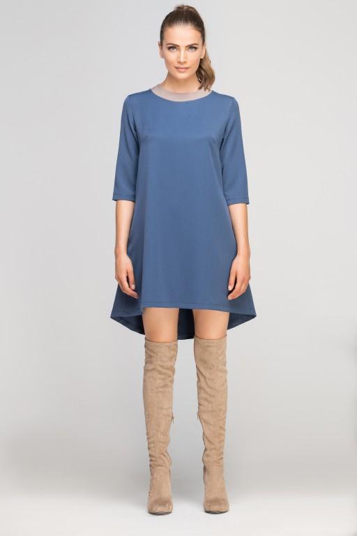 Sukienka z dłuższym tyłem, SUK148 niebieski