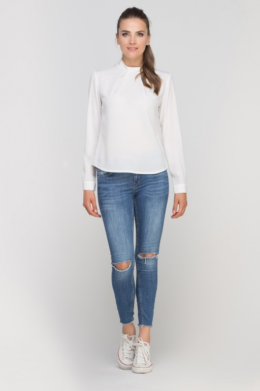 Blouse with a unique collar, BLU138 ecru