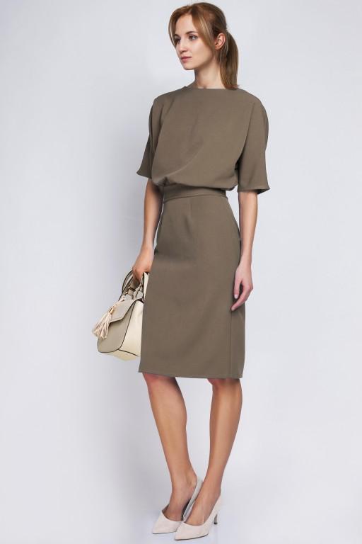 Sukienka dopasowana dołem, SUK123 khaki