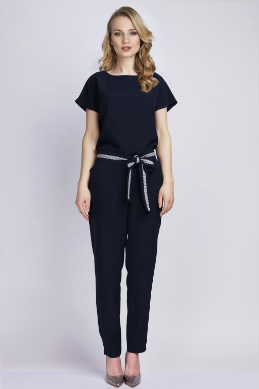 Jumpsuit with belt, KB102 navy