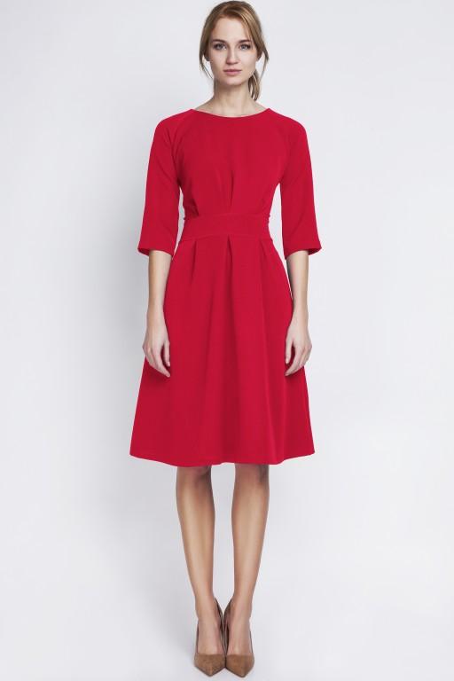 Sukienka z rozkloszowanym dołem, SUK122 czerwony