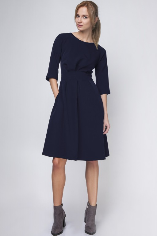 Dress with a flared bottom, SUK122 navy