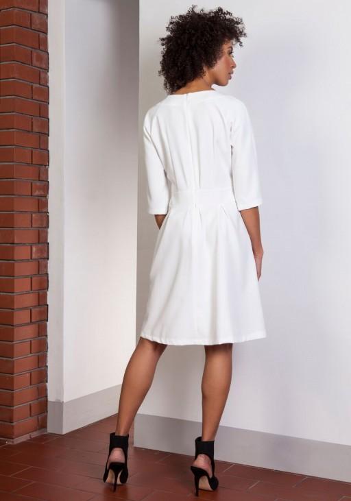 Sukienka z rozkloszowanym dołem, SUK122 ecru