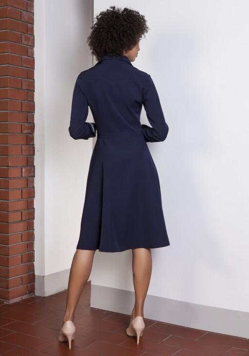 Rozkloszowana sukienka, SUK151 granat