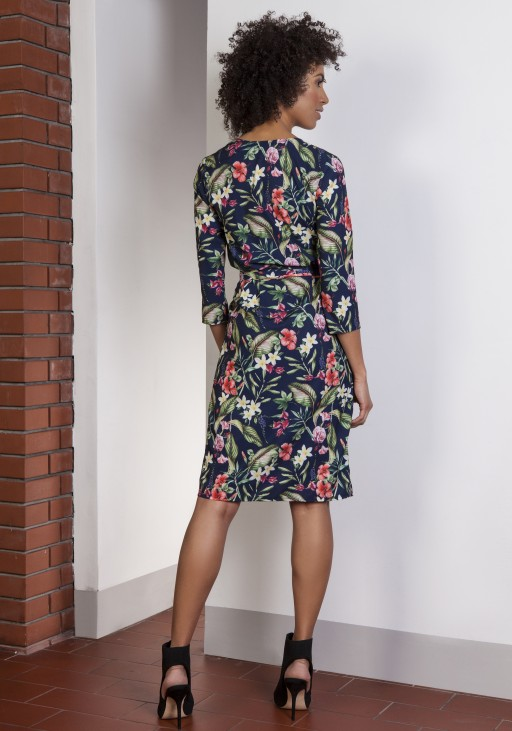 Kopertowa sukienka w kwiatki, SUK152 kwiaty