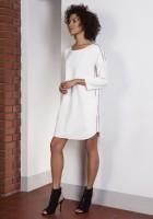 Sportowa sukienka z lampasami, SUK150 ecru