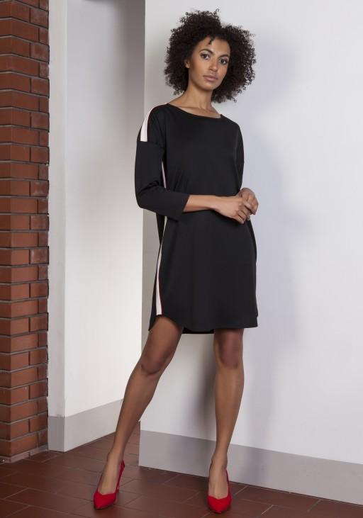 Sportowa sukienka z lampasami, SUK150 czarny