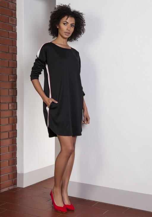 Sporty dress with stripes, SUK150 black
