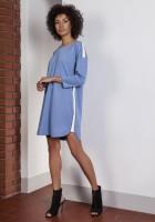 Sportowa sukienka z lampasami, SUK150 niebieski
