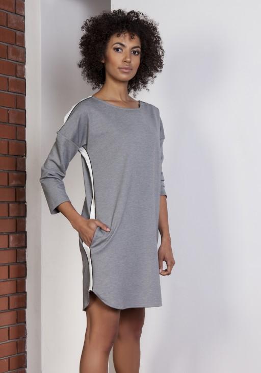 Sportowa sukienka z lampasami, SUK150 szary