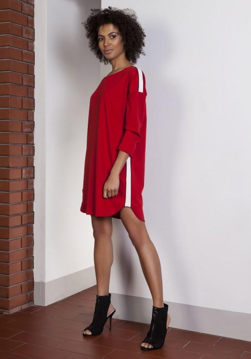 Sportowa sukienka z lampasami, SUK150 czerwony