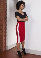 Pencil midi skirt with stripes, SP117 red