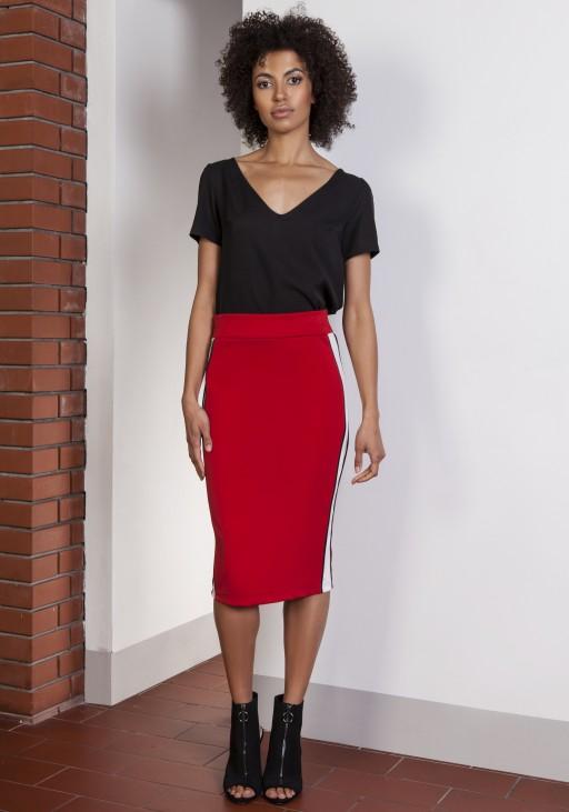 Ołówkowa spódnica midi z lampasami, SP117 czerwony