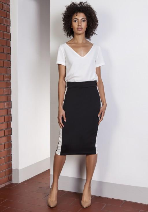 Pencil midi skirt with stripes, SP117 black