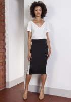Pencil midi skirt with stripes, SP117 black