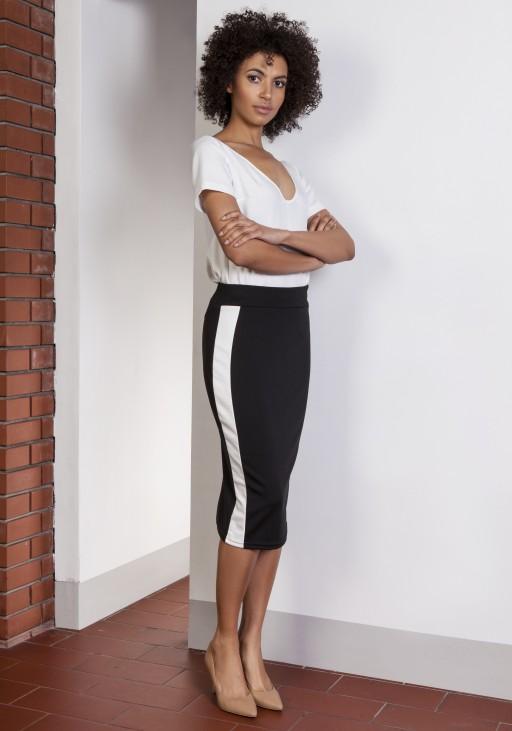 Ołówkowa spódnica midi z lampasami, SP117 czarny
